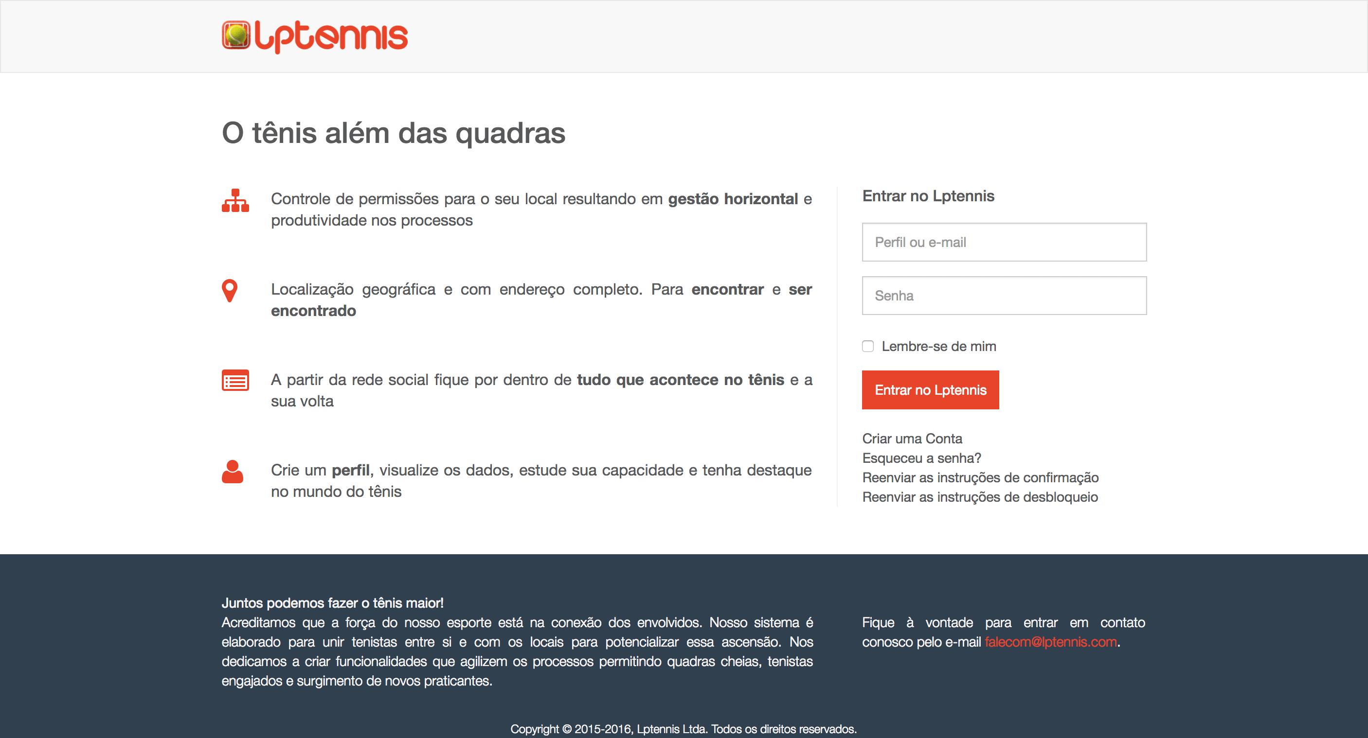 Segunda versão do site da Lptennis