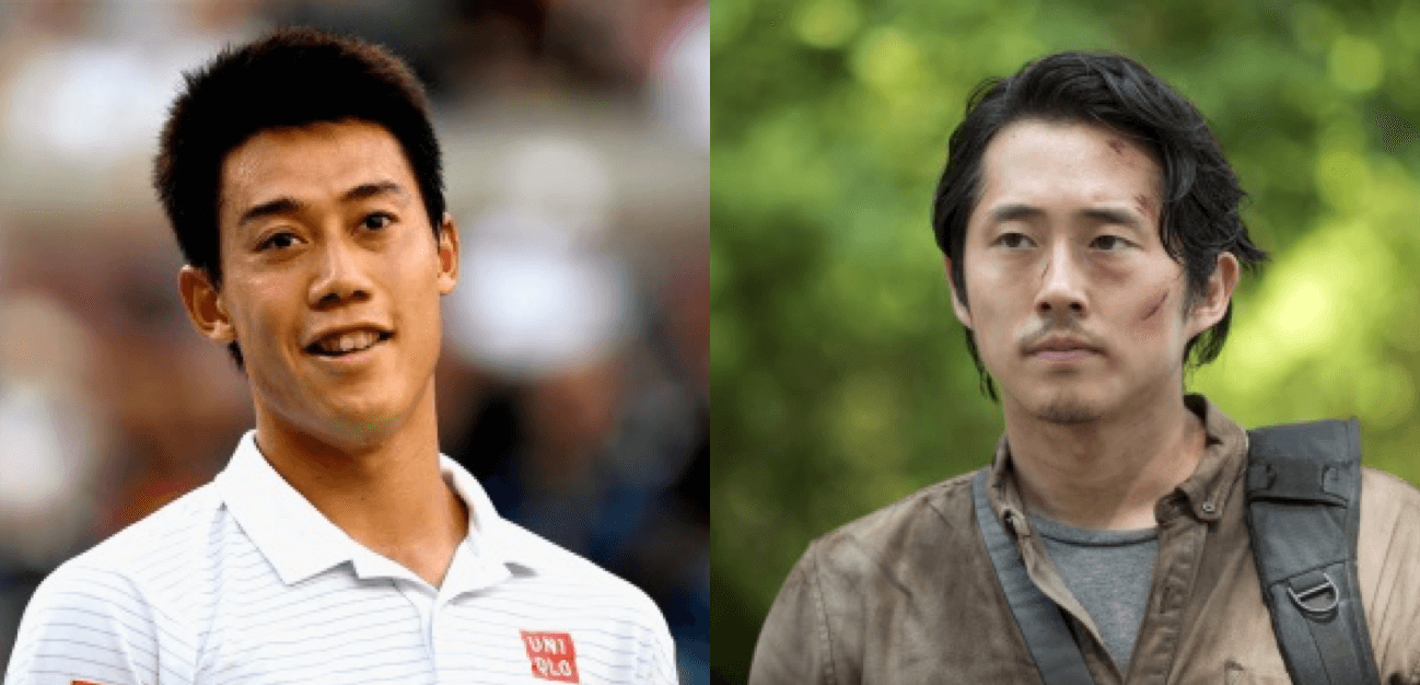 Kei Nishikori com Glenn do Walking Dead
